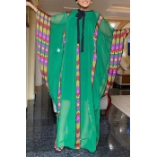 Lovely Casual Patchwork Green Maxi Plus Size Dress