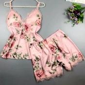 Lovely Trendy Print Pink Sleepwear
