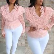 Lovely Sweet Flounce Design Pink Blouse