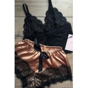 Lovely Sexy Lace Hem Brown Sleepwear
