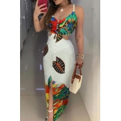 Lovely Casual Hollow-out Multicolor Maxi Dress