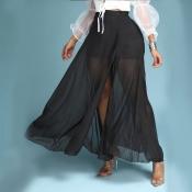 Lovely Bohemian Side High Slit Black Skirt