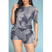 Lovely Casual Print Black Two-piece Shorts Set