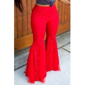 Lovely Trendy Lace Patchwork Red Pants