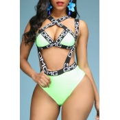 Lovely Letter Print Green Two-piece Swimsuit