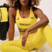 Lovely Sportswear Letter Print Yellow Two-piece Pants Set