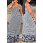 Lovely Leisure Striped Black Maxi Dress