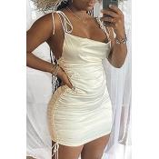 Lovely Stylish Fold Design White Mini Dress