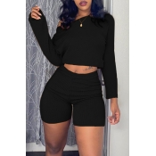 Lovely Casual Long Sleeves Black Two-piece Shorts