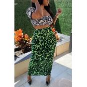 Lovely Stylish Print Green Two-piece Skirt Set
