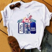 Lovely Leisure Print White Plus Size T-shirt