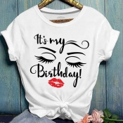 Lovely Casual O Neck Letter Print White Plus Size