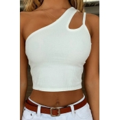 Lovely Leisure One Shoulder Hollow-out White Camis