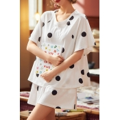 Lovely Leisure Dot Print White Plus Size Two-piece
