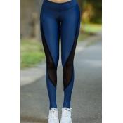 Lovely Sportswear Patchwork Blue Leggings