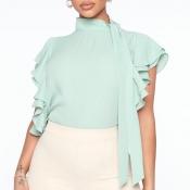 Lovely Sweet Flounce Design Light Green Blouse