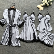Lovely Leisure Lace Patchwork Silver Sleepwear