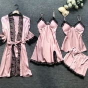 Lovely Leisure Lace Patchwork Pink Sleepwear