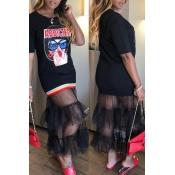 Lovely Trendy Patchwork Black Ankle Length T-shirt