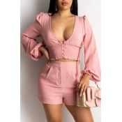 Lovely Stylish Deep V Neck Pink Two-piece Shorts S