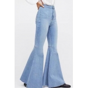 Lovely Retro Flared Baby Blue Jeans