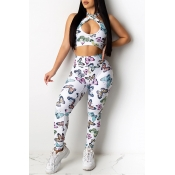 Lovely Casual Butterfly Print White Two-piece Pant