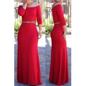 Lovely Bohemian Dew Shoulder Red Maxi Dress