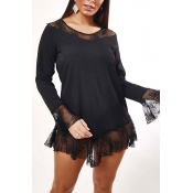 Lovely Stylish Lace Patchwork Black Sleepwear