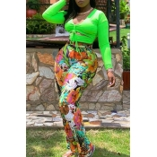 Lovely Trendy Print Green Plus Size Two-piece Pant