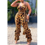 Lovely Trendy Leopard Print Plus Size One-piece Ju
