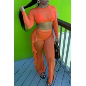 Lovely Flounce Design Orange Cover-Up(Two-piece)