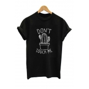 Lovely Leisure Print Black T-shirt