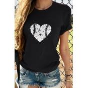 Lovely Casual Heart Print Black T-shirt