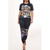 Lovely Casual O Neck Print Black Two-piece Pants S