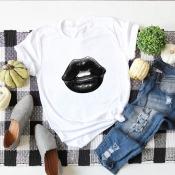 Lovely Casual O Neck Lip Print White Plus Size T-shirt