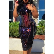 Lovely Trendy Sequined Purple Mid Calf Plus Size D