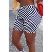 Lovely Casual Grid Black Plus Size Shorts