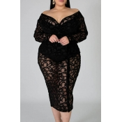 Lovely Sexy See-through Black Plus Size One-piece
