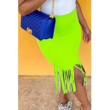 Lovely Chic Tassel Design Green Skirt