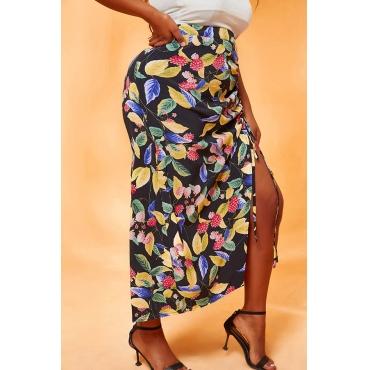 Lovely Casual Print Black Plus Size Skirt