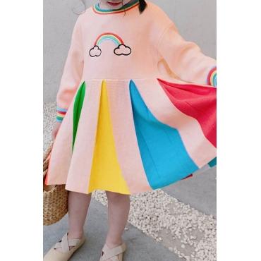 Lovely Sweet Patchwork Multicolor Girl Knee Length Dress