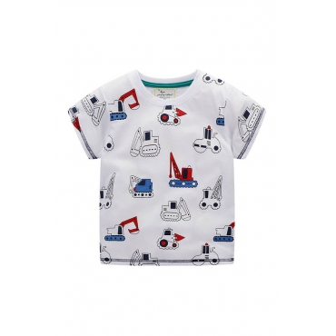 Lovely Casual Print White Boy T-shirt