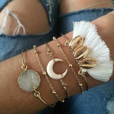 Lovely Bohemian Tassel White Bracelet