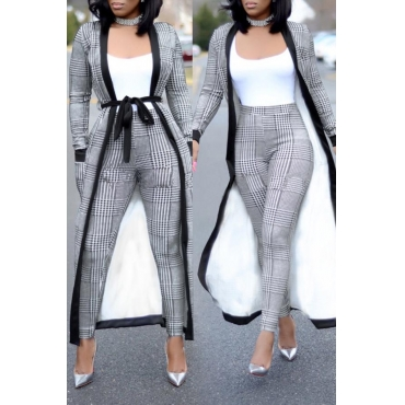 Lovely Vintage See-through Color-lump Patchwork Grey Two-piece Pants Set