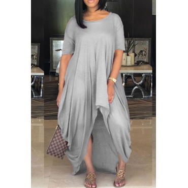 Lovely Casual Loose Grey Mini Dress