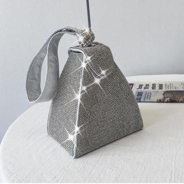 Lovely Trendy Hot Drilling Silver Crossbody Bag