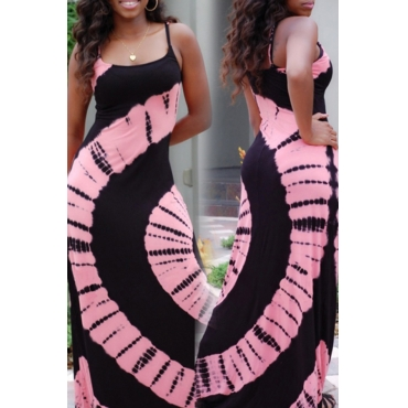 Lovely Casual  Print Pink Maxi Dress