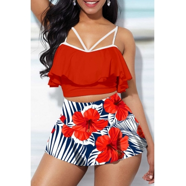 Lovely Flounce Design Red Bathing Suit Two-piece Swimsuit