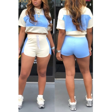 Lovely Chic Patchwork Sky Blue Two-piece Shorts Set