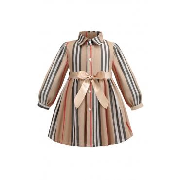 Lovely Sweet Striped Print Girl Knee Length Dress